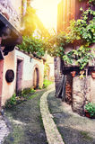 Narrow street in old town, Alsace Stock Photography