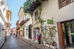 Narrow street in the old town Cartagena, Colombia Royalty Free Stock Image