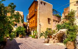 Narrow street in the old town of Chania, Crete. Stock Photos