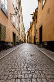 Narrow Street in Old Town (Gamla Stan) of Stockholm Stock Photos