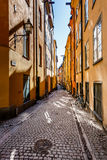Narrow Street in Old Town (Gamla Stan) of Stockholm Stock Images