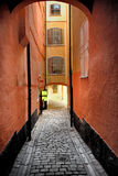 Narrow Street in Old Town (Gamla Stan) of Stockholm, Sweden Royalty Free Stock Image