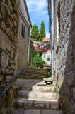 The narrow street in Old town of Herceg Novi, Montenegro Stock Images