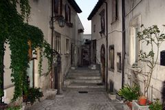 Narrow street in the old town in Italy stock photos