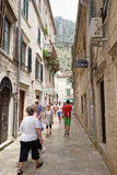 Narrow street in old town Kotor, Montenegro Stock Images