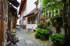 Narrow street in old town of Murten Royalty Free Stock Images