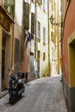 Narrow street in the Old Town, Nice, France Stock Photo