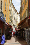 Narrow street in the Old Town of Nice in France Stock Image