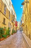Old town of Birgu, Malta. The narrow street of old town with plants in pots along the houses` walls, Birgu, Malta royalty free stock photos