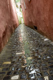 Narrow street in old town. In the rain Royalty Free Stock Image