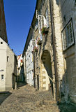 Narrow street in the old town, Riga. Royalty Free Stock Photos