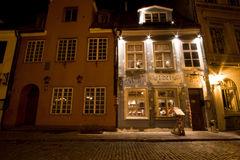 Narrow street in the old town, Riga. Royalty Free Stock Images