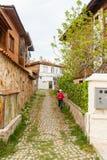 Narrow street of the old town of Sozopol, Bulgaria Royalty Free Stock Image