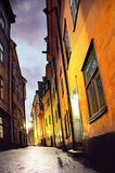 Narrow street in Stocholm Stock Images