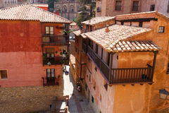 Narrow street at old town in sunny day Stock Photography