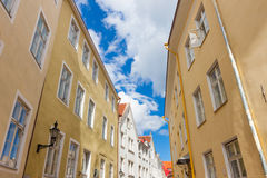 Narrow street in the old town of Tallinn city Royalty Free Stock Image