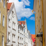 Narrow street in the old town of Tallinn city Royalty Free Stock Photography