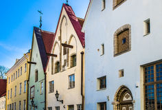 Narrow street in the Old Town of Tallinn. With colorful facades, Estonia Royalty Free Stock Photography