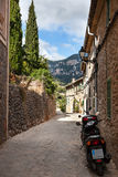Narrow street old traditional houses village, Majorca Royalty Free Stock Images