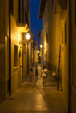Narrow street in Palma de Mallorca at night. Narrow street in Palma de Mallorca, Spain. The Old City (in the south-east area of Palma behind the cathedral) is a Royalty Free Stock Photography