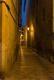 Narrow street in Palma de Mallorca at night Royalty Free Stock Image