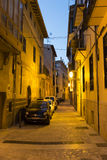 Narrow street in Palma de Mallorca at night Royalty Free Stock Images