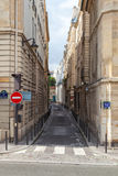 Narrow street perspective, Rue Seguier, Paris Royalty Free Stock Images