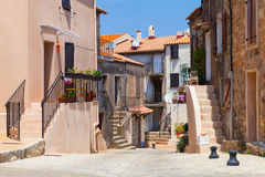 Narrow street of Piana town. Corsica, France Stock Images