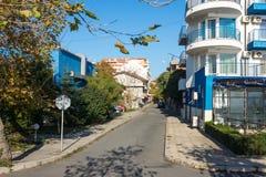 The narrow street in Pomorie, Bulgaria Royalty Free Stock Photos