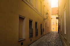 Narrow street in Prague. A narrow street in Prague Stock Photos