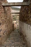Narrow street in Real de CAtorce. Narrow descending stone street in Real de CAtorce Mexico Royalty Free Stock Photography