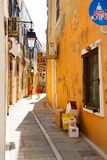 Narrow street in Rethymno Stock Photos