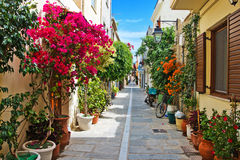 A narrow street in Rethymnon Stock Photography