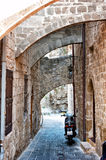 Narrow street in Rhodes  Greece Royalty Free Stock Photography