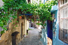 Narrow street on Rhodes island with traditional Greek houses Stock Images