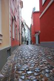 Narrow street in Riga. (Latvia) in old city Royalty Free Stock Image