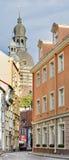 Narrow street in Riga, Latvia Royalty Free Stock Image