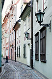 Narrow street in Riga, Latvia Stock Image