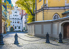 Narrow street in Riga, Latvia Stock Photo