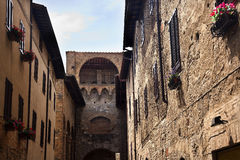Narrow Street San Gimignano Tuscany Italy Stock Photo