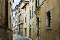 Narrow street in San Severino Royalty Free Stock Photos