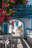 Narrow street in Santorini, Cycladic islands Royalty Free Stock Images