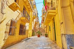 Narrow street of Senglea, Malta stock image