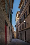 Narrow street in siena itali, toscana. Area day time Royalty Free Stock Images