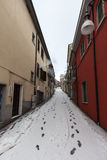 A narrow street in the snow Royalty Free Stock Photography