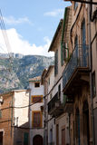 Narrow street of Soller. The town of Soller is famous for it narrow streets showing at their end the high mountains of Mallorca, on its Northern side stock photos