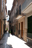 Narrow street of Soller. The town of Soller, Mallorca is famous for it narrow streets stock image