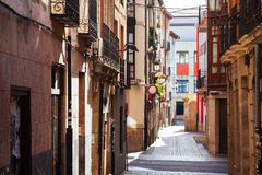 Narrow street in spanish city.  Logrono Royalty Free Stock Images