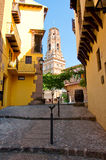 Narrow street in Spanish Town. Barcelona. The Poble Espanyol. Royalty Free Stock Images