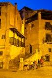 Narrow street at spanish town in night Royalty Free Stock Photo